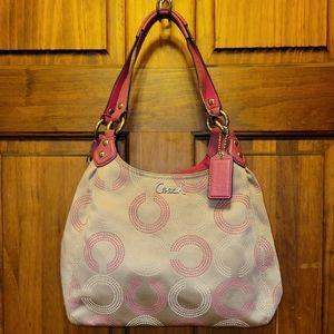 CoachOP Art Dotted Ashley Hobo Handbag F21920 Khaki & Pink